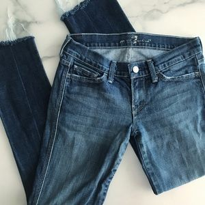 7FAM Colette Distressed Raw Hem Ankle Jeans 24